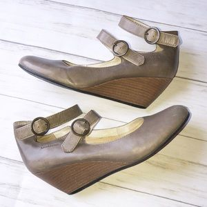 Vagabond Ankle Strap Wedge Leather Heel Shoes 39